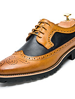 cheap -Men's Oxfords Business Casual Daily Office & Career Walking Shoes PU Breathable Non-slipping Wear Proof Yellow Brown Spring Fall