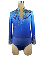 cheap -21Grams Figure Skating Top Men's Boys' Ice Skating Top Blue Spandex High Elasticity Training Competition Skating Wear Crystal / Rhinestone Long Sleeve Ice Skating Figure Skating / Kids