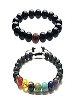 cheap -LF Matte Lava Rock Stone 7 Chakras Essential Oil Diffuser Bracelet Basketball Sport Beaded Wristband for Men Women