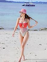 cheap -Women's New Cute Sweet One Piece Swimsuit Tie Dye Racerback Open Back Print Padded Normal Strap Swimwear Bathing Suits Blushing Pink / Bikini / Tattoo