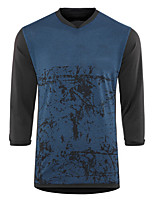 cheap -Men's 3/4 Length Sleeve Downhill Jersey Winter Blue Bike Top Mountain Bike MTB Road Bike Cycling Breathable Sports Clothing Apparel / Stretchy / Athletic