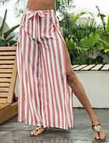 cheap -Women's Stylish Streetwear Casual Weekend Culotte Pants Stripe Ankle-Length Split Stripe White
