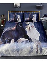 cheap -3d horse print 3-piece duvet cover set hotel bedding sets comforter cover with soft lightweight microfiber, include 1 duvet cover, 2 pillowcases for double/queen/king(1 pillowcase for twin/single)