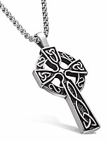 cheap -masarwa mens stainless steel cross pendant chains necklaces 6mm byzantine silver,cz inlay,with velvet pouch