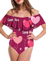 cheap -Women's New Vacation Cute Monokini Swimsuit Tummy Control Ruffle Print Bodysuit Normal Off Shoulder Swimwear Bathing Suits Fuchsia / One Piece / Party