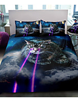 cheap -Space Cat Print 3-Piece Duvet Cover Set Hotel Bedding Sets Comforter Cover with Soft Lightweight Microfiber, Include 1 Duvet Cover, 2 Pillowcases for Double/Queen/King(1 Pillowcase for Twin/Single)