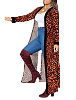 cheap -Women's Cloak / Capes Long Leopard Going out Brown S M L XL