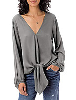 cheap -Womens Floral V Neck Tie Knot Front Blouses Bat Wing Long Sleeve Chiffon Tops Shirts Grey