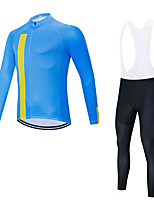 cheap -Men's Long Sleeve Cycling Jersey with Bib Tights Cycling Jersey with Tights Winter Elastane Sky Blue Bike Sports Clothing Apparel