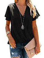 cheap -Womens V Neck Causal Wrap Tunic Top Bow Tie Sleeve Draped Solid Summer T-Shirt Blouses