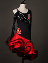 cheap -Latin Dance Dress Cascading Ruffles Crystals / Rhinestones Women's Training Performance Long Sleeve Natural Elastane Organza