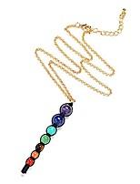 cheap -ZUOBAO Handmade 7 Chakra Natural Gemstones Beads Pendant Necklace Yoga Jewelry, 20 Inches (Black Rope)