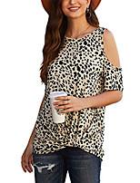 preiswerte -Frauen Sommer plus Größe sexy Leopardenmuster Junioren T-Shirts von der Schulter Kleidung Grundkleidung Geparden T-Shirts Kurzarmhemden Tops beige (uk20-22)