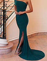 cheap -Mermaid / Trumpet Minimalist Sexy Wedding Guest Formal Evening Dress One Shoulder Sleeveless Sweep / Brush Train Spandex with Sleek Split 2021