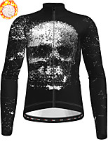 cheap -21Grams Men's Long Sleeve Cycling Jersey Winter Fleece Polyester Black Skull Bike Jersey Top Mountain Bike MTB Road Bike Cycling Fleece Lining Warm Quick Dry Sports Clothing Apparel / Stretchy