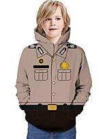 cheap -Kids Boys' Hoodie & Sweatshirt Graphic 3D Print Long Sleeve Active Khaki