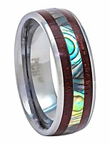 cheap -tungsten hawaiian koa wood and abalone ring 8mm comfort fit band (10.5)
