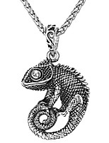 """cheap -Men Punk Stainless Steel 18K Gold Plated Alligator/Lizard/Chameleon Cool Animal Pendant with 22"""" Chain M Stainless"""
