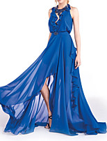 cheap -A-Line Empire Sexy Holiday Formal Evening Dress Halter Neck Sleeveless Sweep / Brush Train Chiffon with Pleats Beading Split 2021