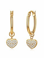 cheap -Heart Charms Huggie Hoop Earrings for Women, Dangle Hoops for Teen Girls, 14K Gold Plated with Cubic Zirconia
