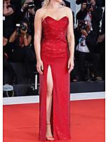 cheap -Sheath / Column Celebrity Style Elegant Prom Formal Evening Dress Sweetheart Neckline Sleeveless Floor Length Sequined with Split 2021