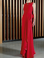 cheap -Sheath / Column Minimalist Sexy Wedding Guest Formal Evening Dress Jewel Neck Sleeveless Floor Length Stretch Satin with Ruffles 2021