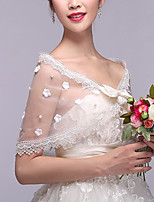 cheap -Sleeveless Shawls Tulle Wedding / Party / Evening Shawl & Wrap / Women's Wrap With Bowknot / Faux Pearl / Lace
