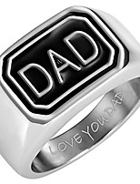 cheap -Mens DAD Stainless Steel Ring Engraved Love You Dad in Gift Pouch
