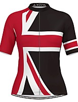 cheap -Women's Short Sleeve Cycling Jersey Black / Red National Flag Bike Top Mountain Bike MTB Road Bike Cycling Breathable Quick Dry Sports Clothing Apparel / Stretchy / Athleisure