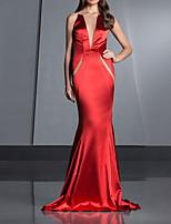 cheap -Mermaid / Trumpet Beautiful Back Sexy Engagement Formal Evening Dress Illusion Neck Sleeveless Court Train Satin with Sleek 2020