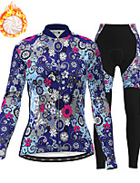 cheap -21Grams Women's Long Sleeve Cycling Jersey with Tights Winter Fleece Polyester White Blue Pink Floral Botanical Christmas Bike Clothing Suit Thermal Warm Fleece Lining Breathable 3D Pad Warm Sports