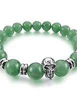 cheap -Men,Women's 10mm Alloy Energy Bracelet Link Wrist Energy Stone Simulated Aventurine Green Skull Bead Elastic