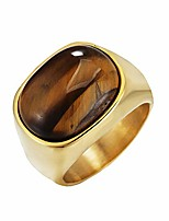 cheap -Men's Stainless Steel Polished Natural Oval Brown Tiger's Eye Stone Ring Gold Size S