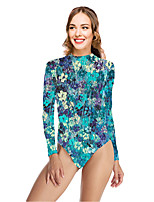 cheap -Women's New Vacation Sexy One Piece Swimsuit Floral Tummy Control Print Bodysuit Normal High Neck Swimwear Bathing Suits Blue / Party