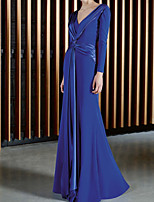 cheap -Sheath / Column Minimalist Elegant Wedding Guest Formal Evening Dress V Neck Long Sleeve Floor Length Chiffon with Sash / Ribbon 2021