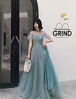 cheap -A-Line Beautiful Back Sparkle Engagement Formal Evening Dress Illusion Neck Short Sleeve Court Train Tulle with Crystals Appliques 2021