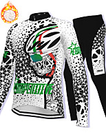 cheap -21Grams Men's Long Sleeve Cycling Jacket with Pants Winter Fleece Spandex White Bike Fleece Lining Warm Sports Graphic Mountain Bike MTB Road Bike Cycling Clothing Apparel / Stretchy / Athleisure