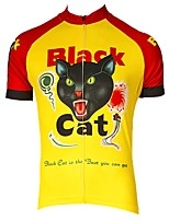 cheap -Men's Short Sleeve Cycling Jersey Yellow Cat Bike Top Mountain Bike MTB Road Bike Cycling Breathable Sports Clothing Apparel / Stretchy / Athletic
