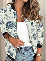 cheap -Women's Print Patchwork Active Spring &  Fall Jacket Regular Daily Long Sleeve Air Layer Fabric Coat Tops White