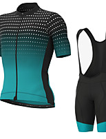 cheap -Men's Short Sleeve Cycling Jersey with Bib Shorts Elastane Green / Black Bike Sports Clothing Apparel