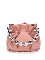 cheap -Women's Bags PU Leather Top Handle Bag Pearls Embellished&Embroidered Plain 2021 Daily Date White Black Purple Yellow