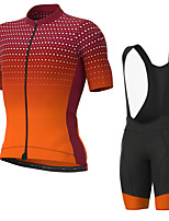cheap -Men's Short Sleeve Cycling Jersey with Bib Shorts Elastane Orange Bike Sports Clothing Apparel