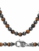 cheap -Mens Magnetic Hematite Yellow Tiger Eye Onyx Beads Beaded Necklace Chain Healing Crystals Jewellery 50cm