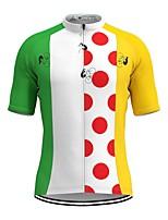 cheap -Men's Short Sleeve Cycling Jersey White Polka Dot Bike Top Mountain Bike MTB Road Bike Cycling Breathable Sports Clothing Apparel / Stretchy / Athletic