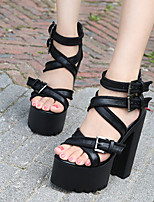 cheap -Women's Sandals Chunky Heel Peep Toe Sexy Daily PU Solid Colored Black