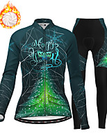 cheap -21Grams Women's Long Sleeve Cycling Jersey with Tights Winter Fleece Polyester Red Blue Green Christmas Santa Claus Bike Clothing Suit Thermal Warm Fleece Lining Breathable 3D Pad Warm Sports Graphic
