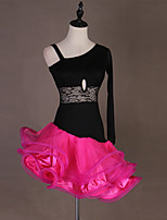 cheap -Latin Dance Dress Cascading Ruffles Split Joint Women's Training Performance Natural Lace Organza