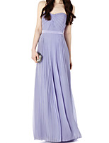 cheap -Sheath / Column Minimalist Sexy Engagement Formal Evening Dress Strapless Sleeveless Floor Length Chiffon with Pleats 2021