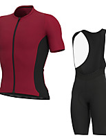 cheap -Men's Short Sleeve Cycling Jersey with Bib Shorts Elastane Rose Red Bike Sports Clothing Apparel