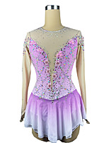 cheap -Figure Skating Dress Women's Girls' Ice Skating Dress Purple Spandex High Elasticity Training Competition Skating Wear Patchwork Crystal / Rhinestone Long Sleeve Ice Skating Figure Skating / Kids